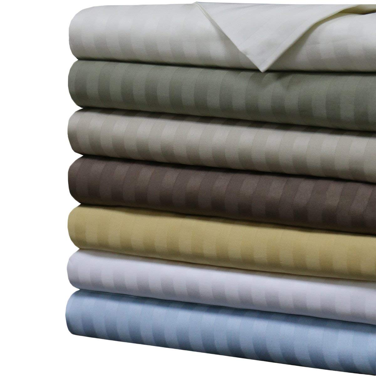 Image of Sheetsnthings Striped 1000 Thread Count Cotton Sheet Set - Best 1000 Thread Count Sheets