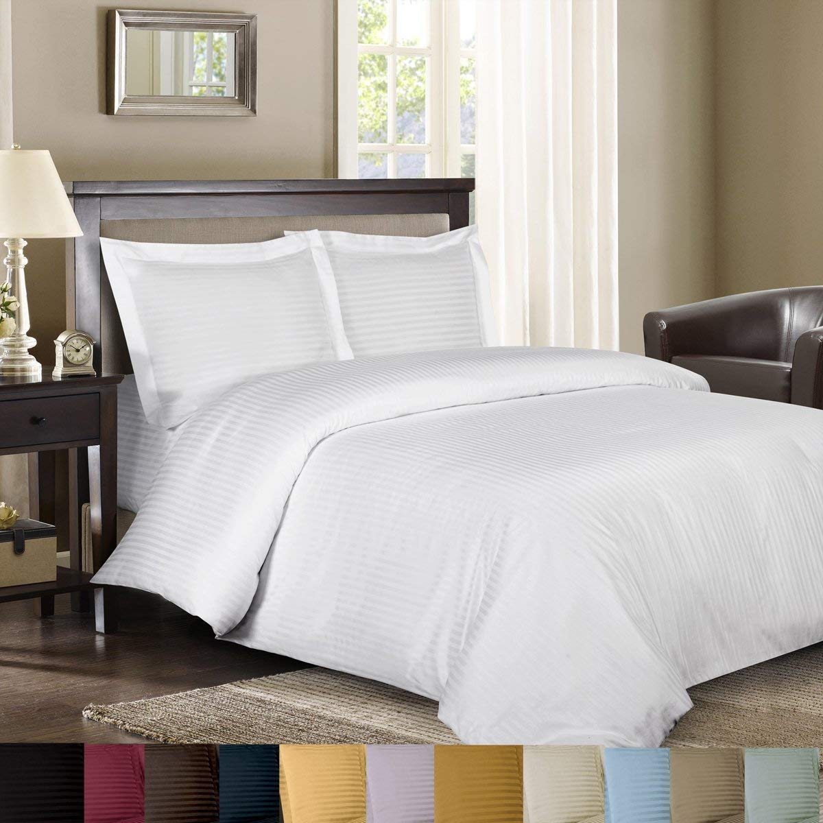 Image of Royal Hotel's Stripe Sage 600-Thread-Count Sheet Set - Best 600 Thread Count Sheets