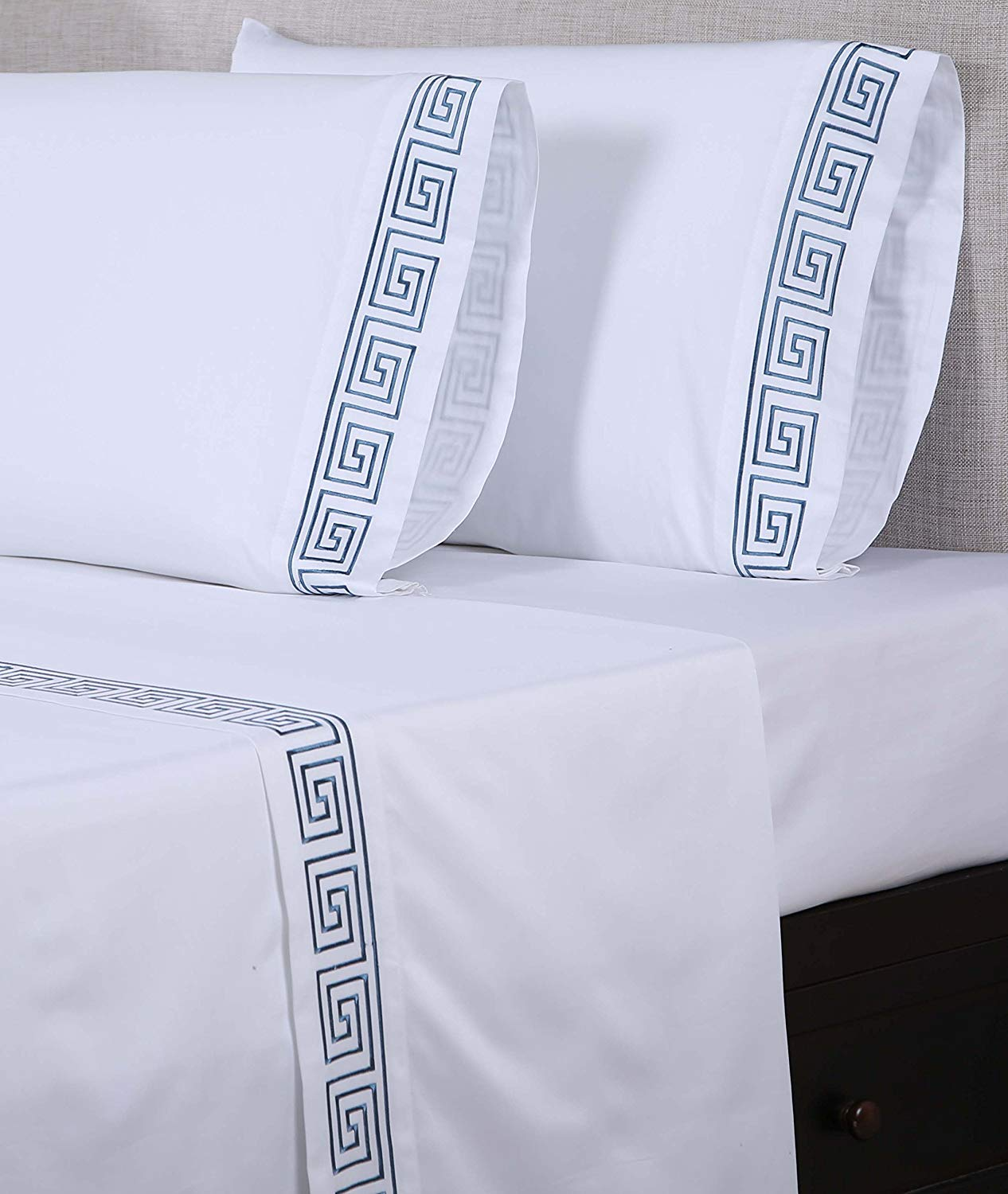 Image of Affluence 600 Thread Count 100% Cotton Embroidered Sheet Set - Best 600 Thread Count Sheets