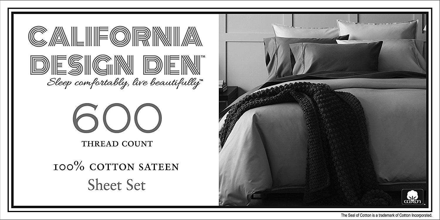 Image of California Design Den 600 thread count sheets of 100% cotton - Best 600 Thread Count Sheets