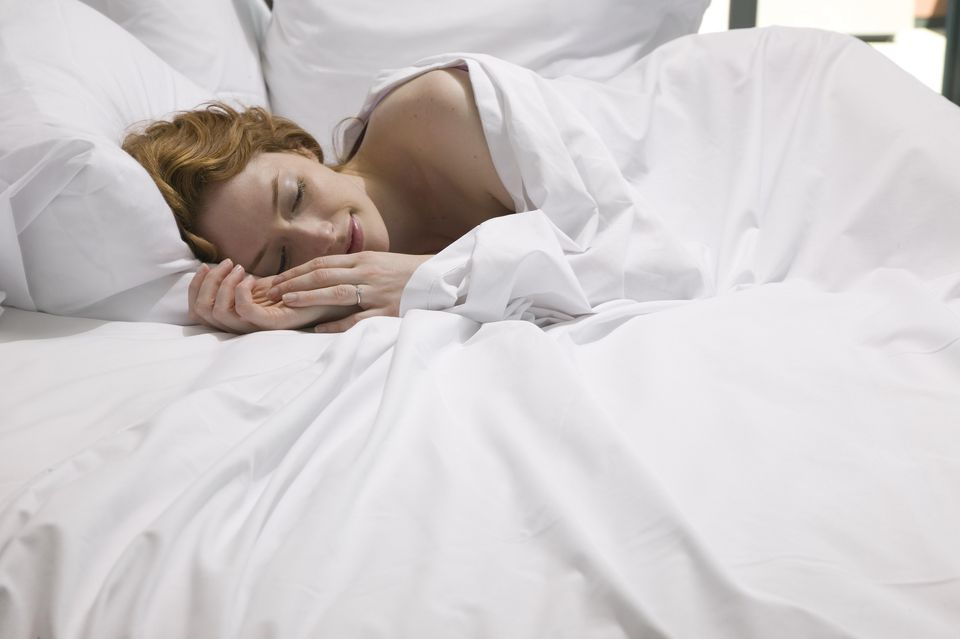 Image Of Woman Sleeping Peacefully Best 600 Thread Count Sheets