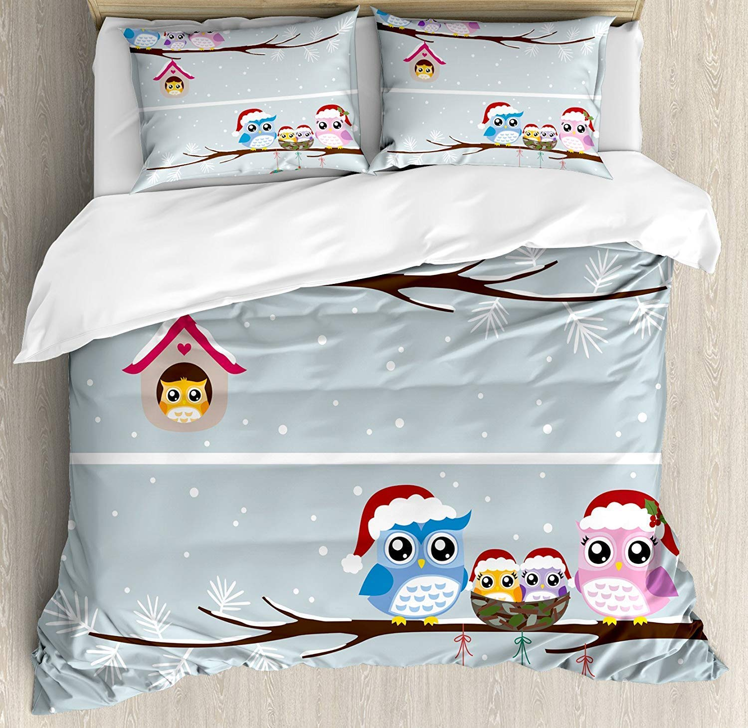 Soefipok Owl Family Christmas Duvet Cover Set - Buy Christmas Duvet Covers