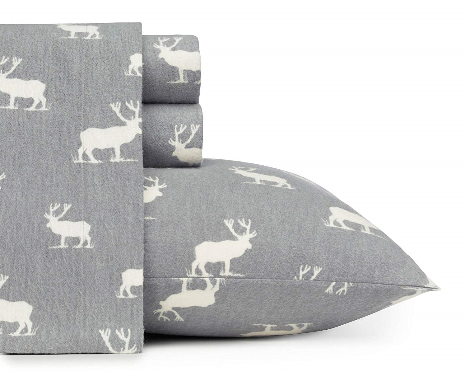 D&A Rustic Grey Elk Sheets - Best Christmas Sheets Queen Size