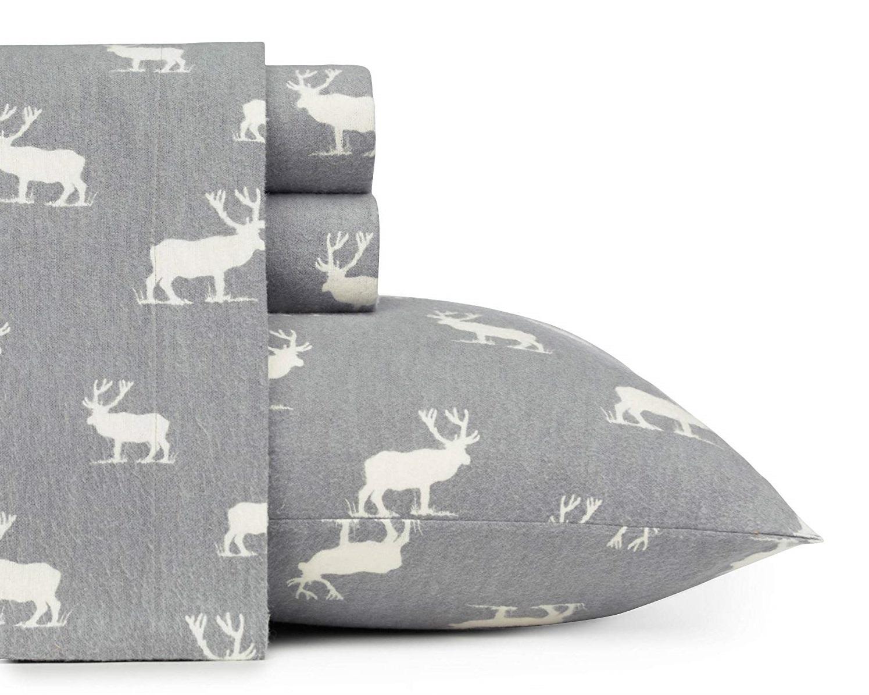 D&A Rustic Grey Elk Sheets - Best Christmas Sheets Queen Size