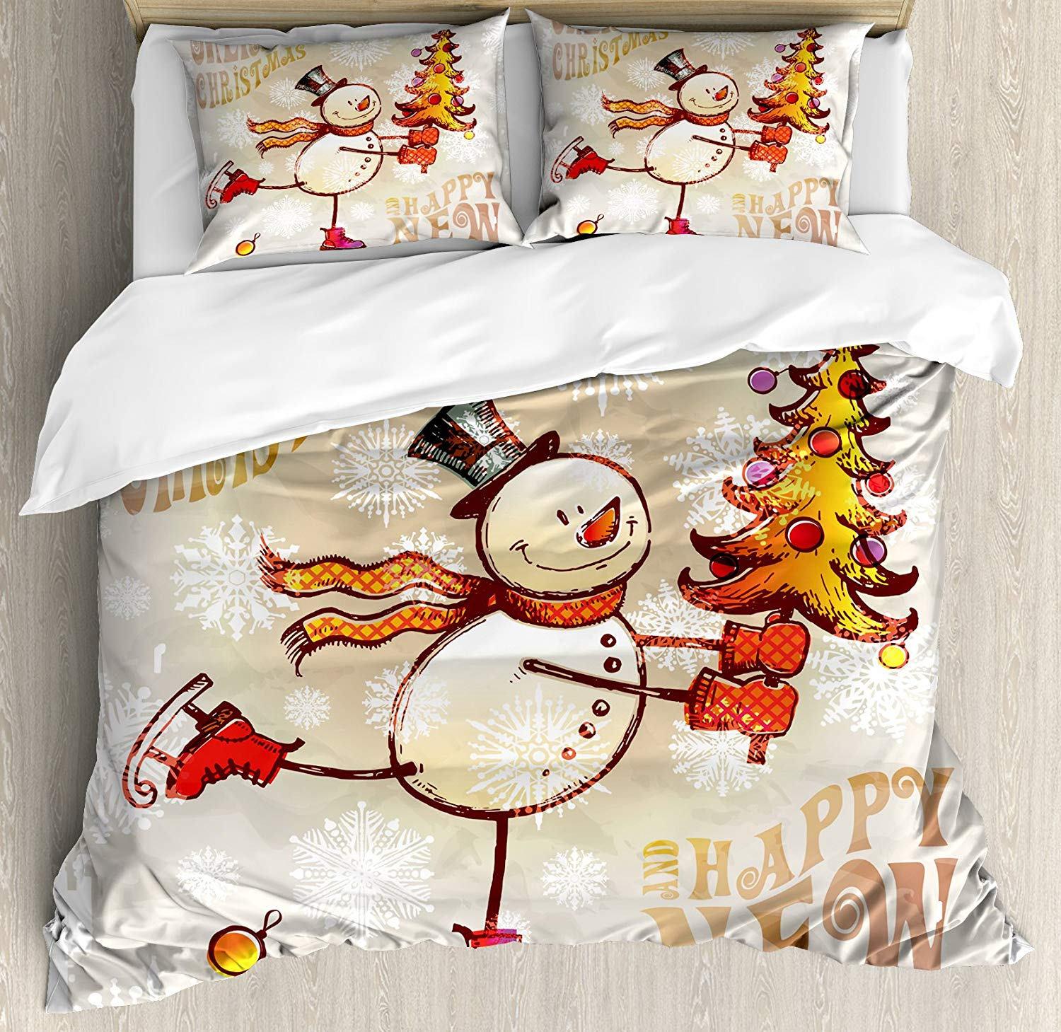 Ambesonne Skating Snowman Christmas Duvet Cover Set - Buy Christmas Duvet Covers