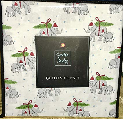 Cynthia Rowley Christmas Elephant Sheets - Best Christmas Sheets Queen Size