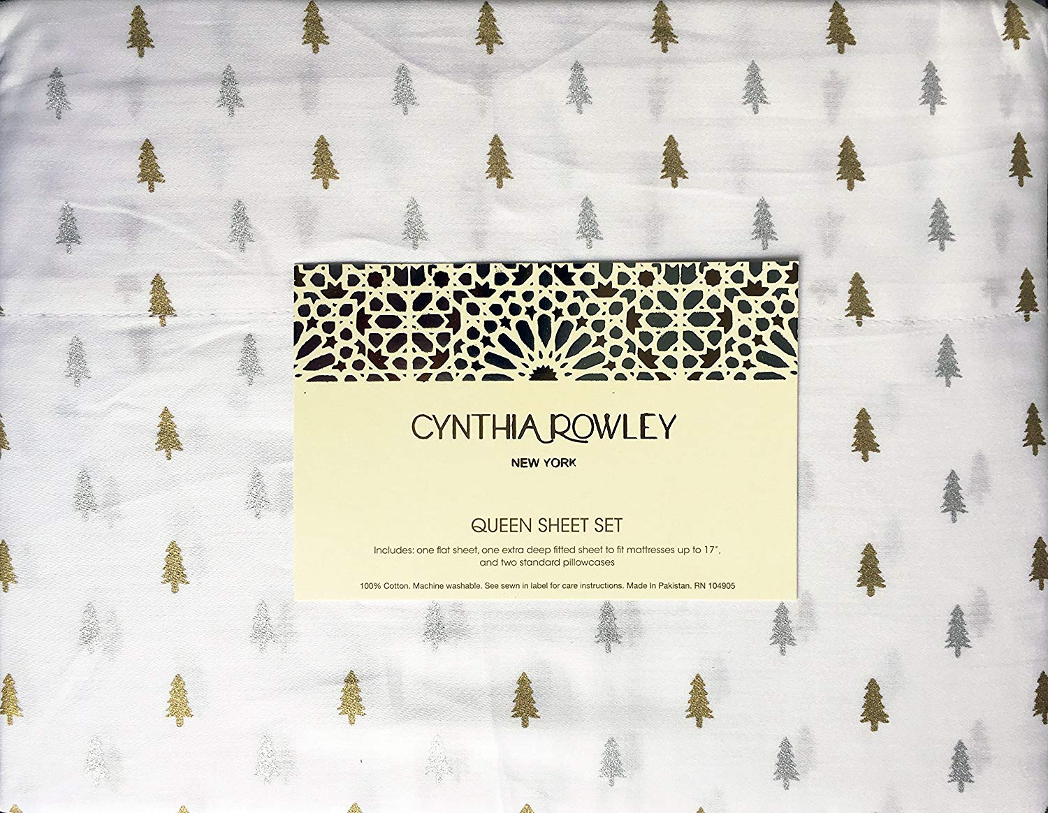 Cynthia Rowley Small Christmas Trees Sheets - Best Christmas Sheets Queen Size