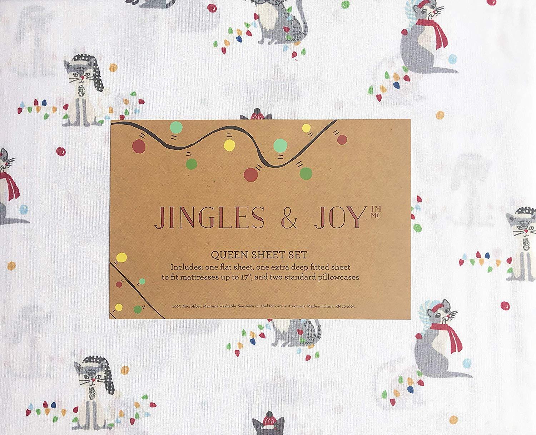 Jingles & Joy Christmas Cat Sheets - Best Christmas Sheets Queen Size