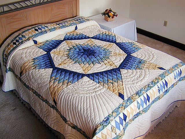White and blue quilt - Christmas Bed Quilts