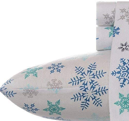 Eddie Bauer Tossed Snowflake Sheets - Best Christmas Sheets Queen Size