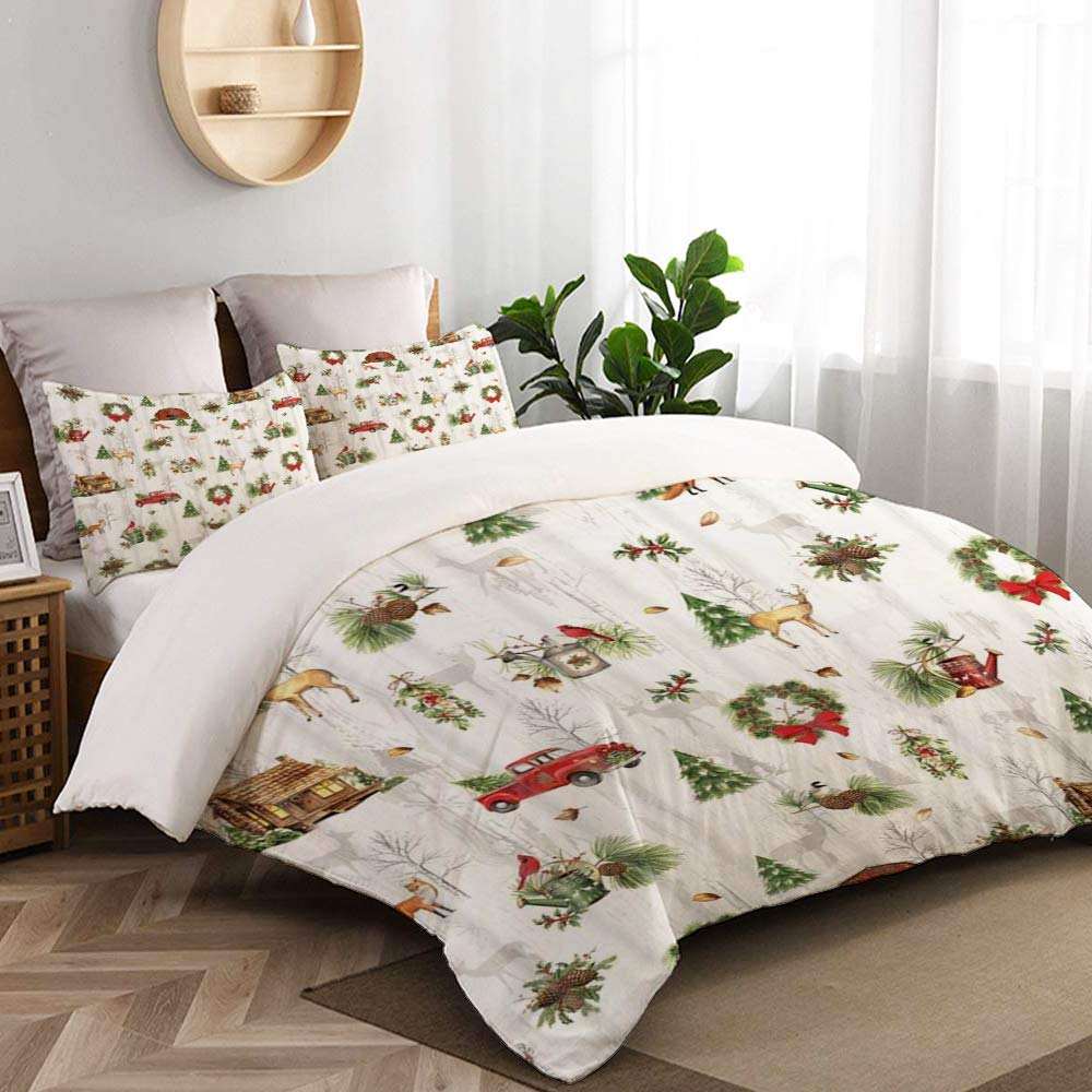 Clonly Christmas Comforter Set - Red Truck Christmas Sheets