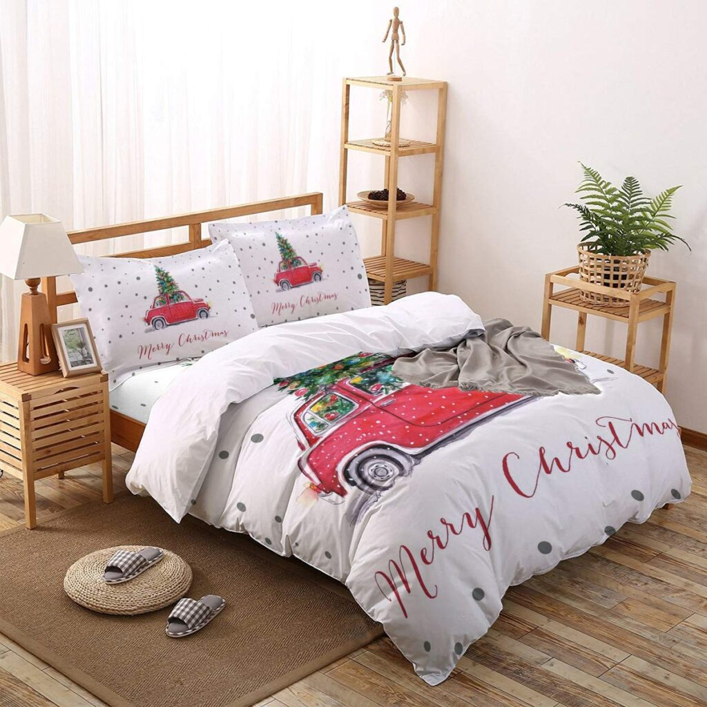 Greaben Christmas Comforter Set - Red Truck Christmas Sheets