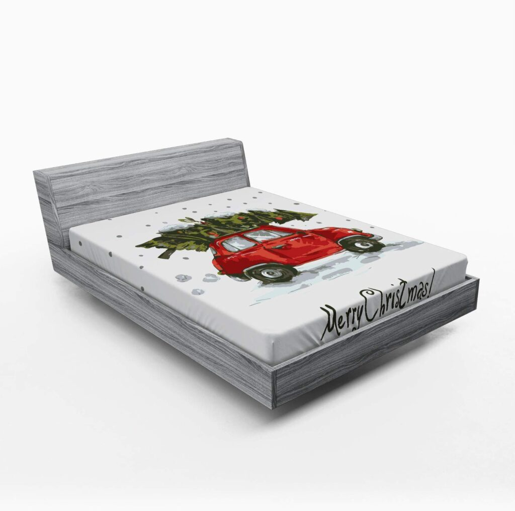 Ambesonne Red Truck Fitted Sheet - Red Truck Christmas Sheets