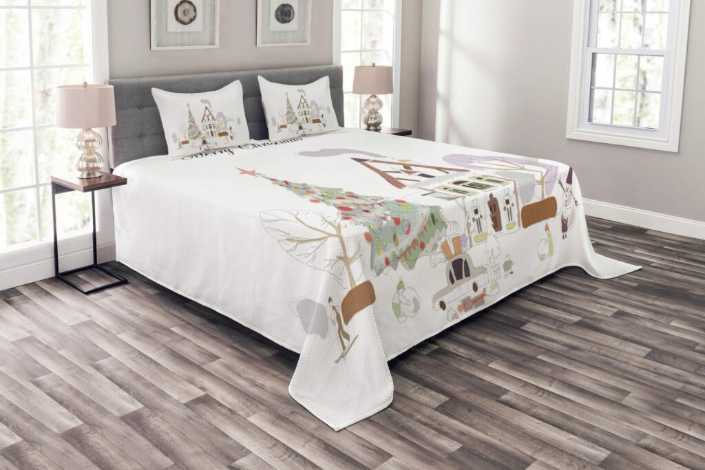 Lunarable Christmas in Town Bedspread - Best Christmas Bedspreads King Size