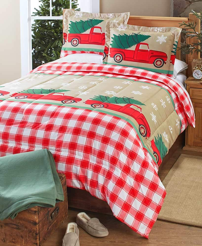 The Lakeside Collection Christmas Comforter Set - Red Truck Christmas Sheets