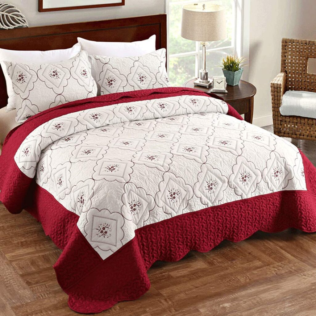 Oliven Red And White Bedspread - Best Christmas Bedspreads King Size