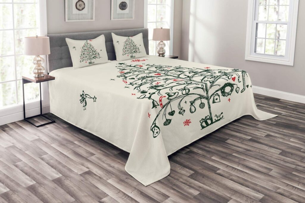 Ambersonne Christmas Tree Bedspread - Best Christmas Bedspreads King Size