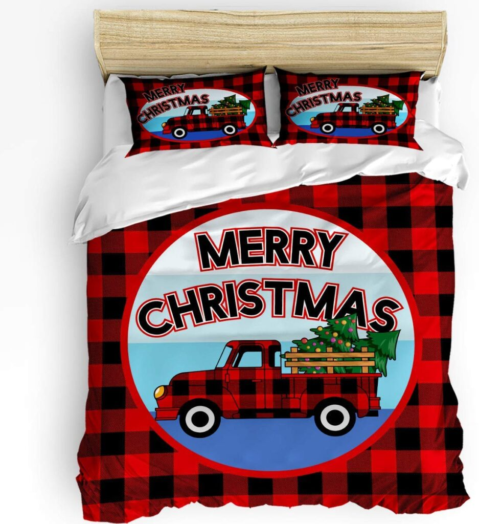 Crystal Emotion Christmas Comforter Set - Red Truck Christmas Sheets