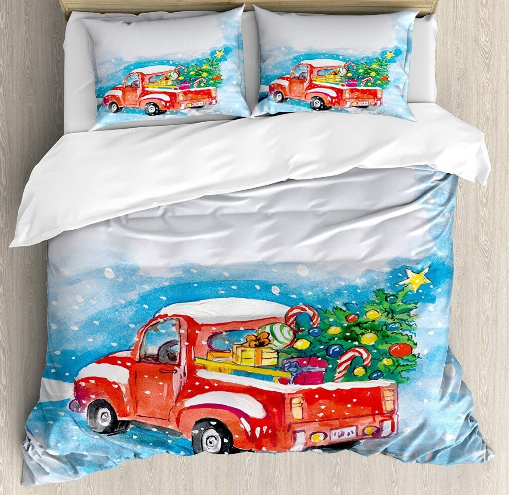 Yokou Christmas Comforter Set - Red Truck Christmas Sheets