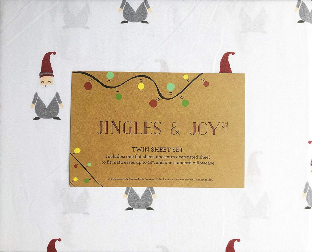Jingles & Joy Gnome Christmas Sheets - Best Christmas sheets twin size