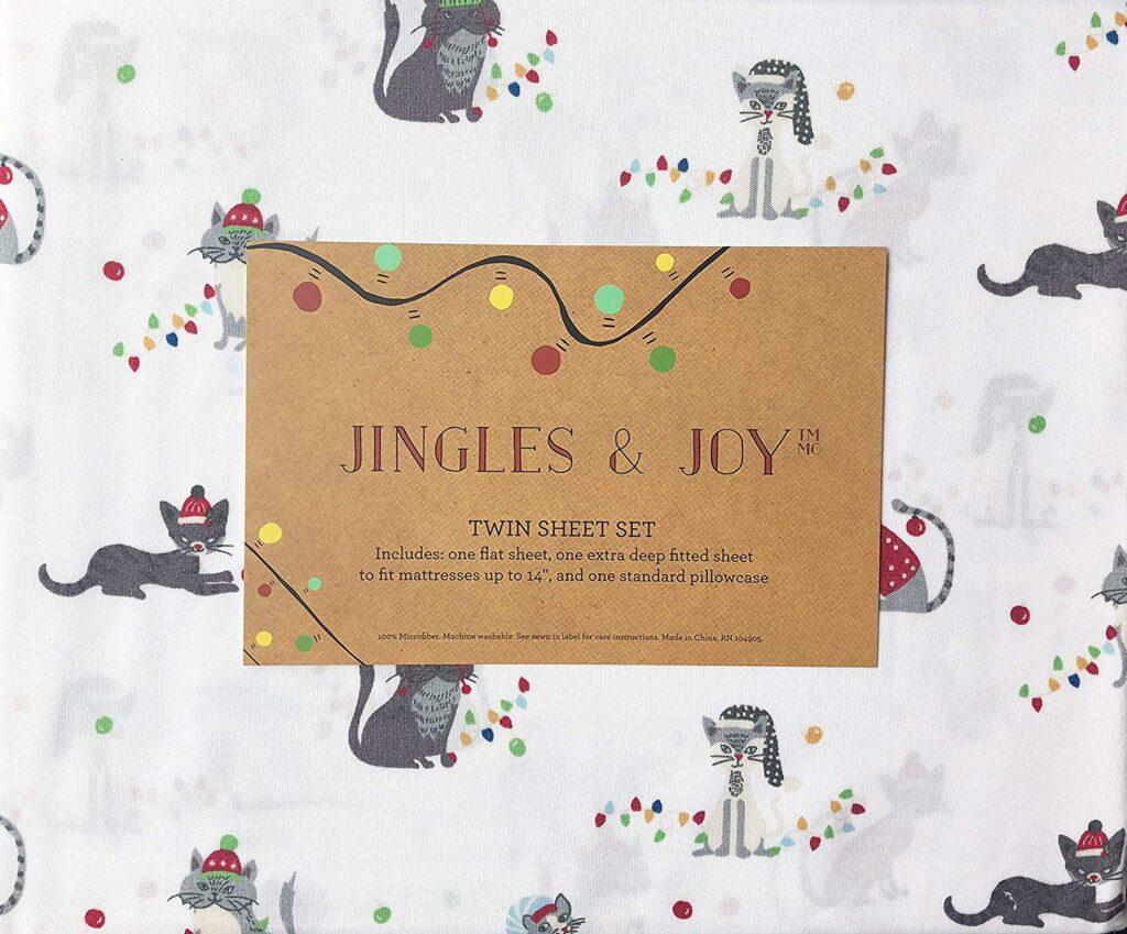 Jingles & Joy Cat Christmas Sheets - Best Christmas sheets twin size
