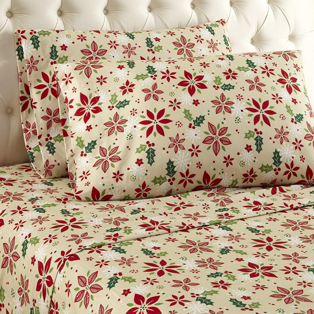 Thermee Micro Flannel Christmas Floral Sheets - Best Christmas Sheets Twin Size