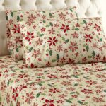 Thermee Micro Flannel Christmas Floral Sheets - Best Christmas Sheets Queen Size