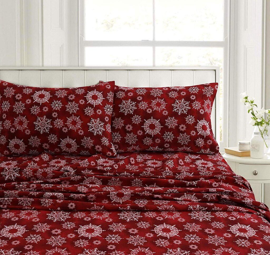 Tribeca Living Christmas Snowflakes Queen Set - Best Christmas Sheets Queen Size