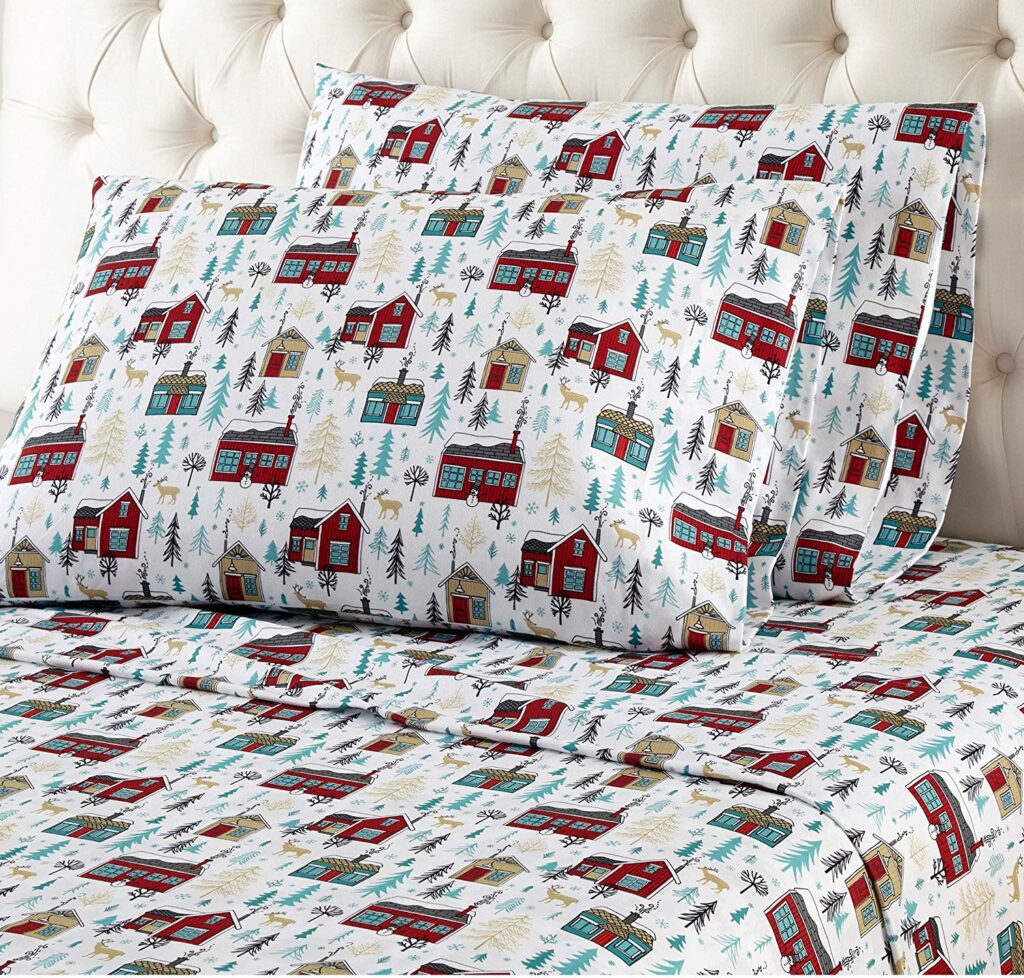 OSVT Christmas Cabin Theme Sheets - Best Christmas Sheets Queen Size